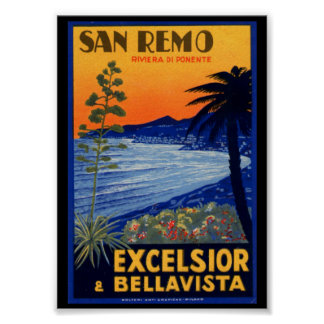Vintage Travel Poster, San Remo Excelsior Italy