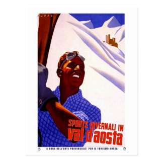 Vintage Travel Poster - Skiing in the Italian Alps Postcard