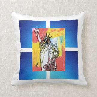 Vintage Travel poster statue of liberty NYC pillow