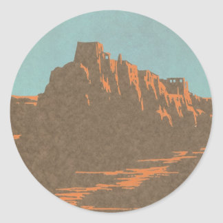 Vintage Travel Poster, Taos, New Mexico Classic Round Sticker