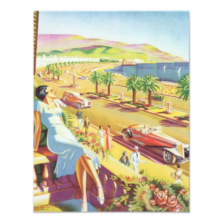 Vintage Travel Poster, the Coast of Nice France Announcement