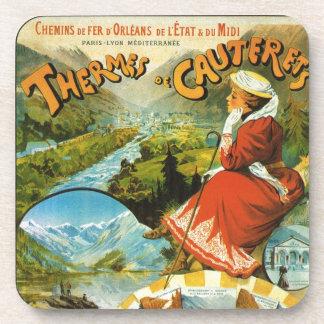 Vintage Travel poster, Thermes de Cauterets Drink Coaster