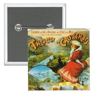 Vintage Travel poster, Thermes de Cauterets Pinback Button
