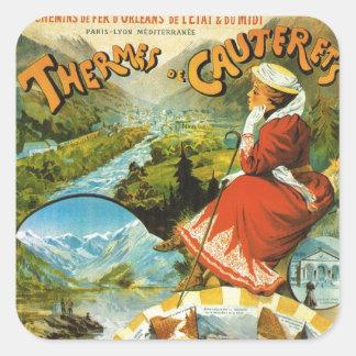 Vintage Travel poster, Thermes de Cauterets Square Sticker