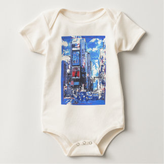 Vintage travel poster Times Square N Y City Baby Bodysuit