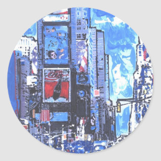 Vintage travel poster Times Square N Y City Classic Round Sticker