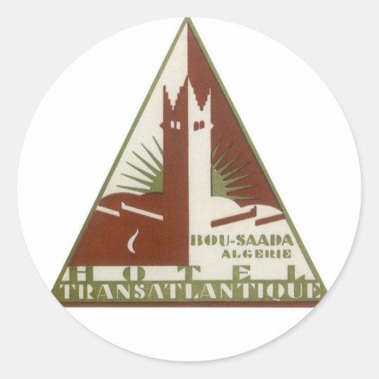 Vintage Travel Poster Trans Atlantic Hotel Algeria Classic Round Sticker