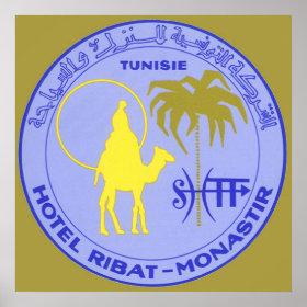 Vintage Travel Poster, Tunisia, Tunisie, Africa