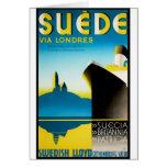 Vintage Travel Posters: Suede via Londres Card