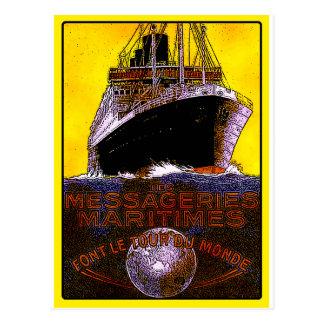 Vintage Travel Posters: World Tour Ocean Liner Postcard