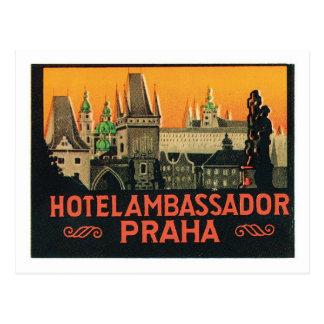 Vintage Travel Praha Czech Republic Hotel Label Postcard