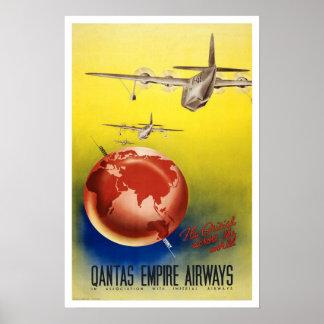 Vintage travel,Quantas-Empire Airways Poster