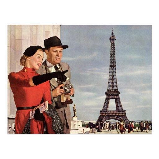 Vintage Travel - Retro Paris - Eiffel Tower Postcard