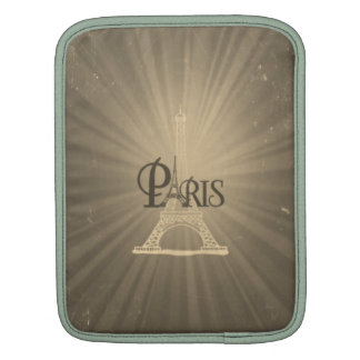 Vintage Travel Retro Style Eiffel Tower Paris Grey Sleeves For iPads