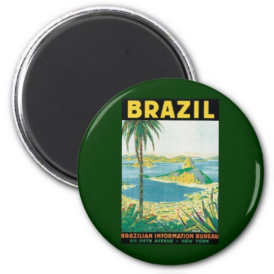 Vintage Travel Rio de Janeiro Brazil Coastal Beach Magnet