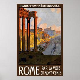 Vintage Travel, Rome Italy Roman Forum at Dawn Print