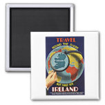 Vintage Travel Round the Globe See Ireland 2 Inch Square Magnet