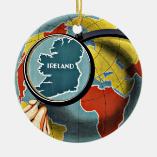 Vintage Travel Round the Globe See Ireland Double-Sided Ceramic Round Christmas Ornament