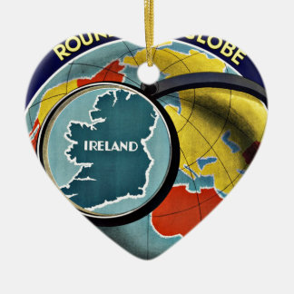 Vintage Travel Round the Globe See Ireland Double-Sided Heart Ceramic Christmas Ornament