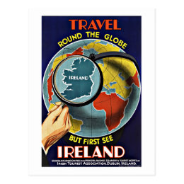 Vintage Travel Round the Globe See Ireland Postcard