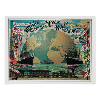 Vintage Travel Round The World Voyage Print