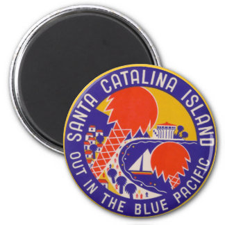 Vintage Travel - Santa Catalina Island 2 Inch Round Magnet