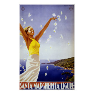 Vintage Travel, Santa Margherita Ligure, Italy Poster