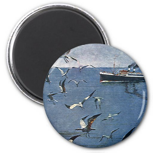 Vintage Travel, Seagull Birds and Fishing Boat 2 Inch Round Magnet