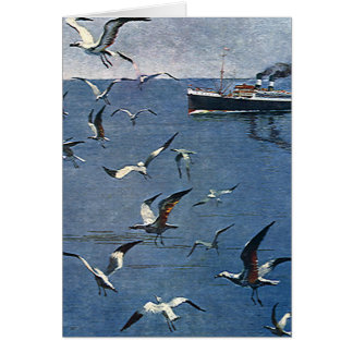 Vintage Travel, Seagull Birds and Fishing Boat Stationery Note Card