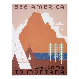 Vintage Travel, See America Welcome to Montana Card