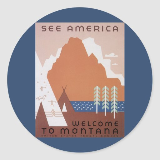 Vintage Travel, See America Welcome to Montana Classic Round Sticker