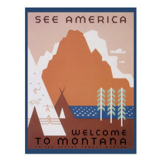 Vintage Travel, See America Welcome to Montana Postcard