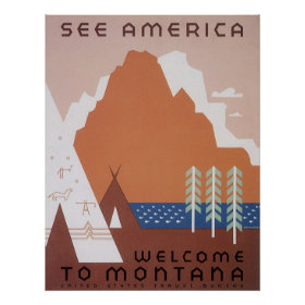 Vintage Travel, See America Welcome to Montana Poster