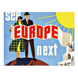 Vintage Travel See Europe Postcard