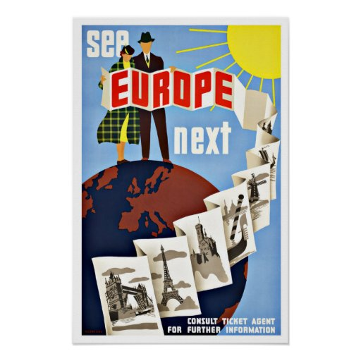 Vintage Travel See Europe Poster