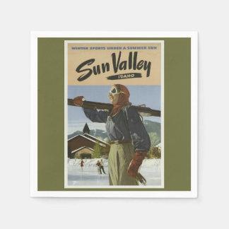 Vintage Travel Ski Standard Cocktail Napkin