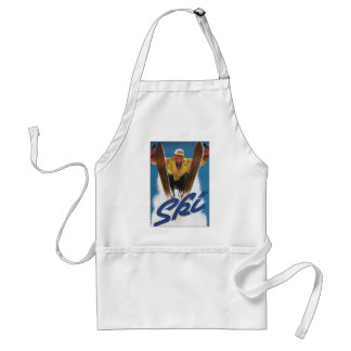 Vintage Travel, Sports Skier Skiing in Winter Snow Adult Apron