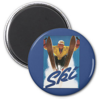 Vintage Travel, Sports Skier Skiing in Winter Snow Magnet