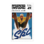 Vintage Travel, Sports Skier Skiing in Winter Snow Stamp