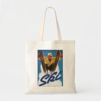 Vintage Travel, Sports Skier Skiing in Winter Snow Tote Bag
