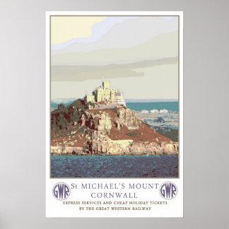 Vintage travel St Michael s Mount Print
