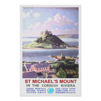 Vintage travel St Michael s Mount Poster