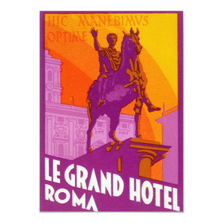 Vintage Travel, Statue Le Grand Hotel Roma Italy Card