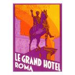 Vintage Travel, Statue Le Grand Hotel Roma Italy Invite