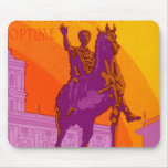 Vintage Travel, Statue Le Grand Hotel Roma Italy Mousepads