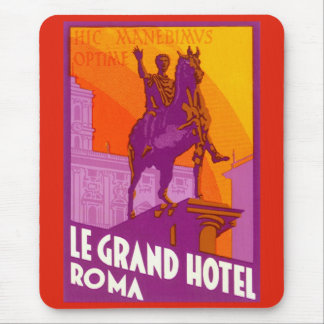 Vintage Travel, Statue Le Grand Hotel Roma Italy Mouse Pad