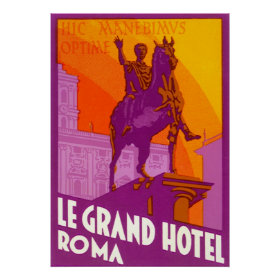Vintage Travel, Statue Le Grand Hotel Roma Italy Posters