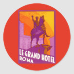 Vintage Travel, Statue Le Grand Hotel Roma Italy Stickers