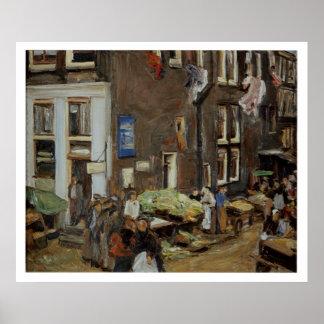 Vintage Travel Street Market Amsterdam Poster