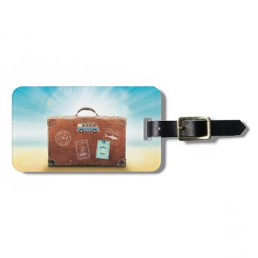 Beach Themed Vintage Travel Suitcase on Sunny Beach Luggage Tag